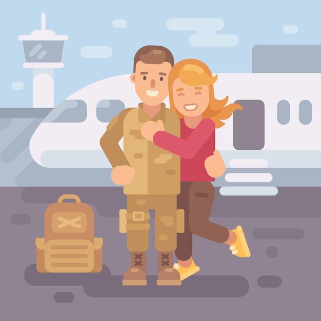 兵士は配備から家に帰る。空港で兵士を抱擁している幸せなガールフレンド Premiumベクター