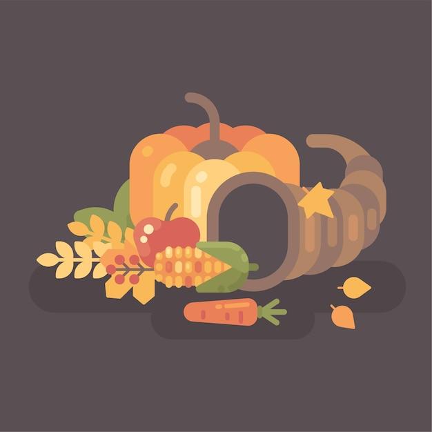 秋の収穫フラットイラスト。果物と野菜とのコーンコーポピア。 Premiumベクター