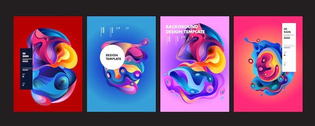 Волнистый геометрический красочный фон Premium векторы