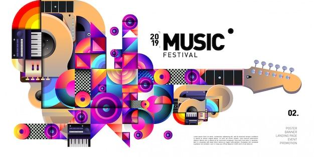 Вектор красочный музыкальный фестиваль для баннера и плаката Premium векторы