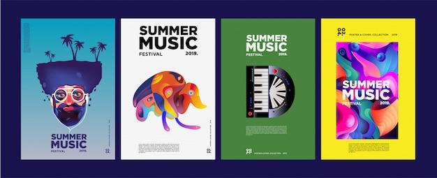 Летний фестиваль красочного искусства и музыки афиша и обложка Premium векторы