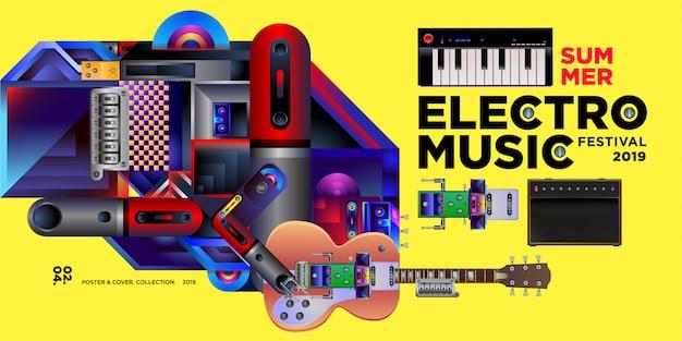 ベクトル夏エレクトロ音楽祭バナーデザインテンプレート Premiumベクター