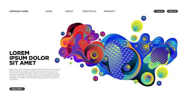 抽象的な流体とウェブサイトのランディングページの背景 Premiumベクター