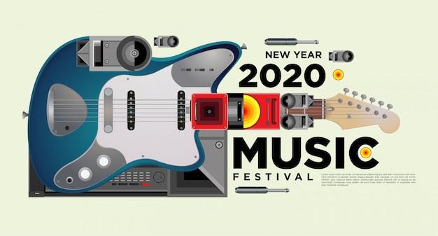 Музыкальный фестиваль горизонтальный дизайн шаблона плаката Premium векторы
