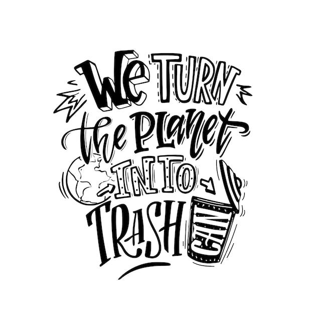 惑星をゴミ箱に変える Premiumベクター