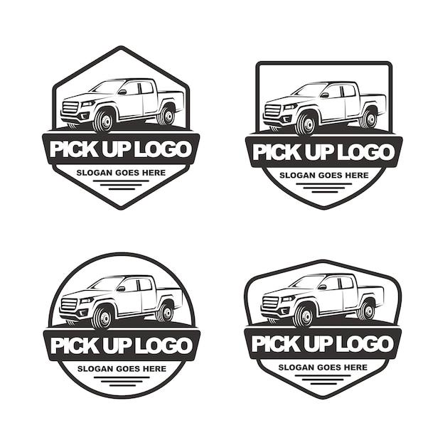 ピックアップカーロゴテンプレートのセット Premiumベクター