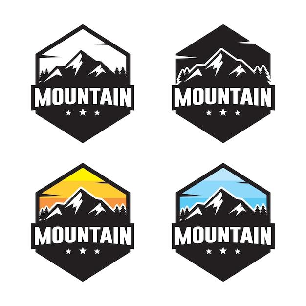 Набор горных логотипа шаблона Premium векторы