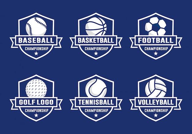 Набор шаблонов логотипа спортивной команды Premium векторы