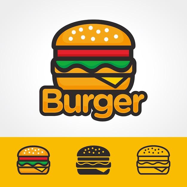 バーガーのロゴテンプレート Premiumベクター