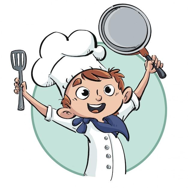 フライパンで幸せな料理人の少年 Premiumベクター