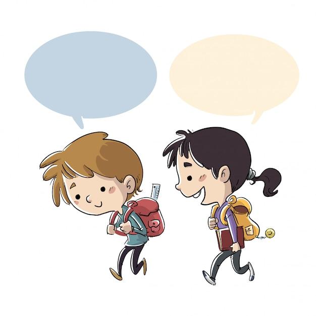 子供たちが学校に歩いて Premiumベクター