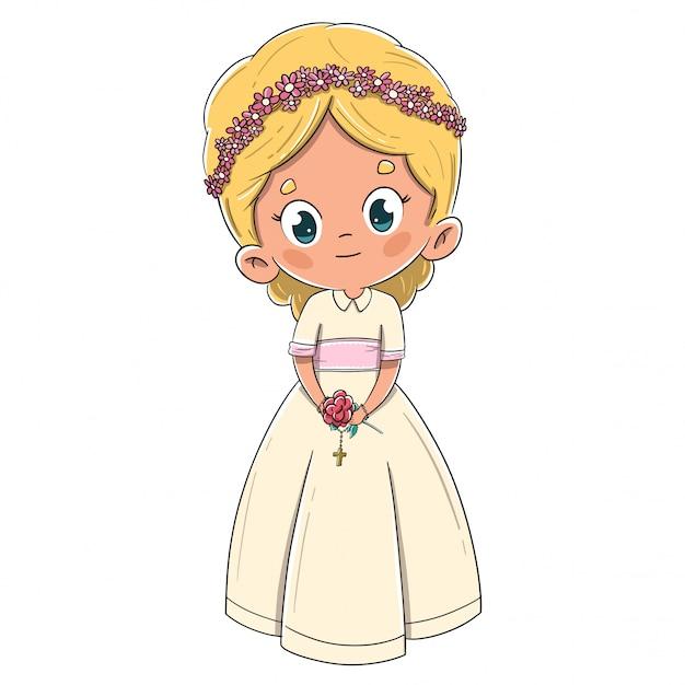 最初の聖体拝領の金髪を作る小さな女の子 Premiumベクター