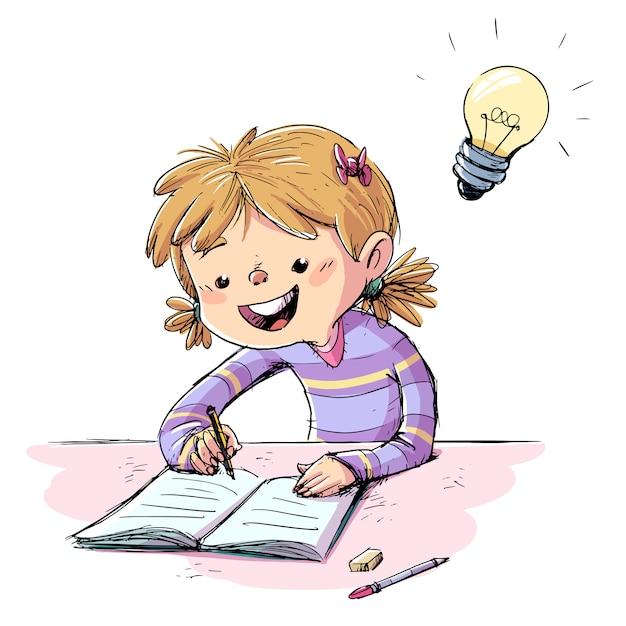 Девушка пишет в тетради Premium векторы