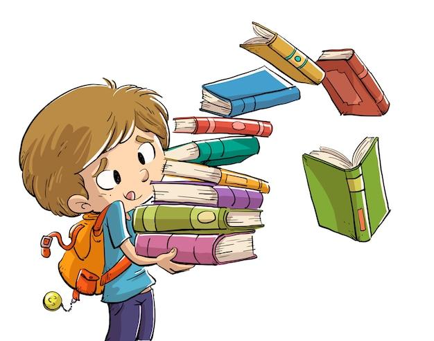 たくさんの本を持つ少年 Premiumベクター