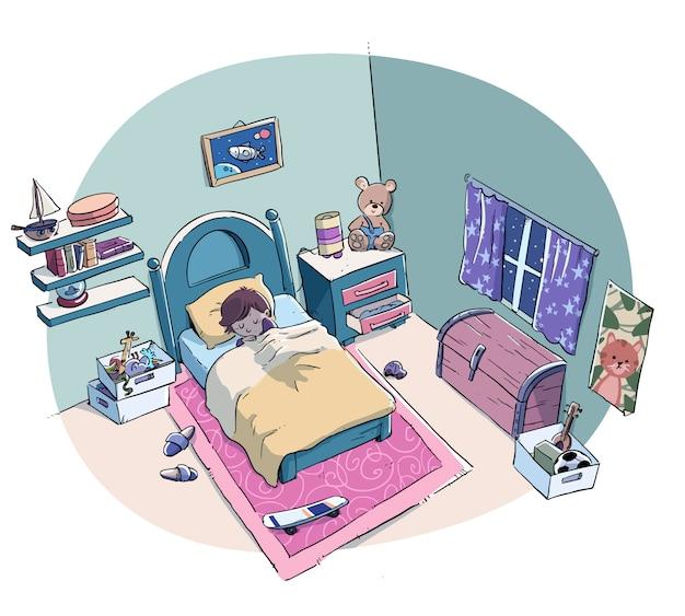 Мальчик мирно спит в постели своей комнаты Premium векторы