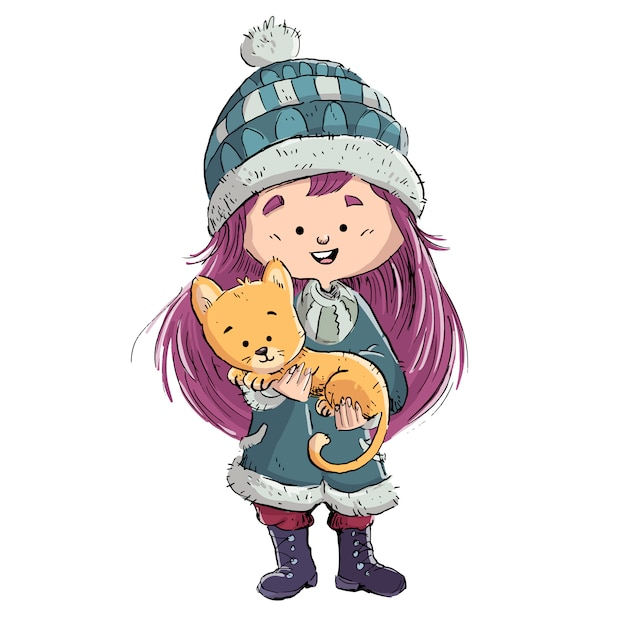 彼女の猫と彼女の腕の小さな女の子 Premiumベクター