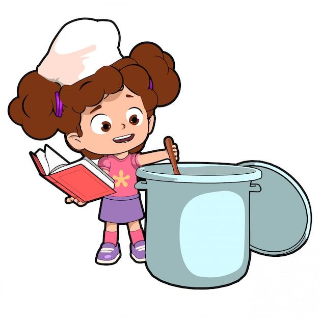 レシピを作るキッチンの子供 Premiumベクター