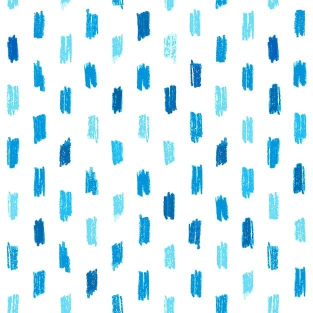 青い手で描かれたクレヨンのストロークシームレスなパターン。 Premiumベクター