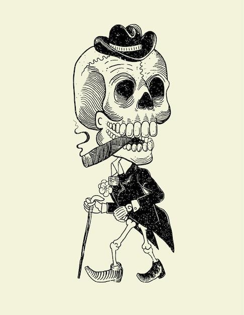 カトリンメキシコの頭蓋骨 Premiumベクター