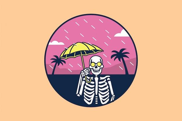 傘と赤ピンクの背景と頭蓋骨 Premiumベクター