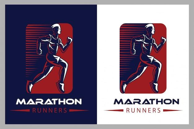 Логотип атлетик бег Premium векторы