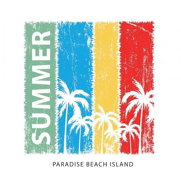 夏の楽園プリント Premiumベクター