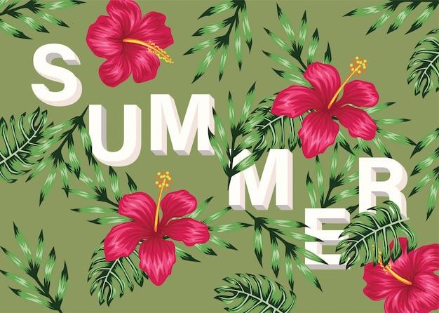 熱帯の夏の花のレタリング Premiumベクター