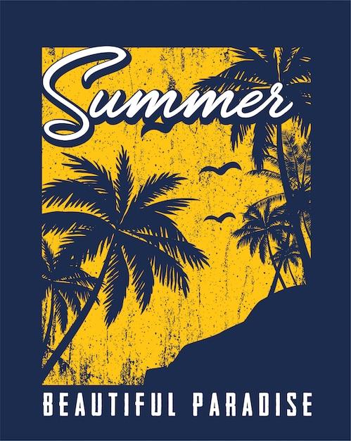 美しい夏のイラスト Premiumベクター