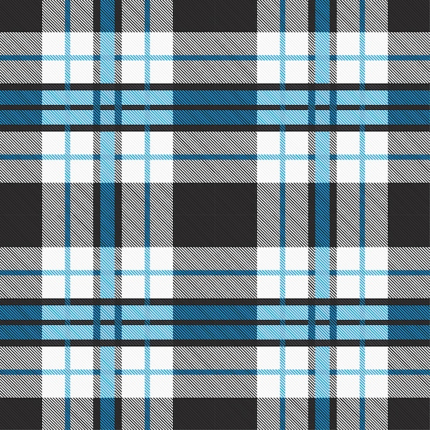 ブルーとグレーのトーンでシームレスなタータンパターン。 Premiumベクター