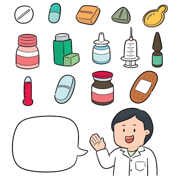 薬剤師と薬のベクトルセット Premiumベクター