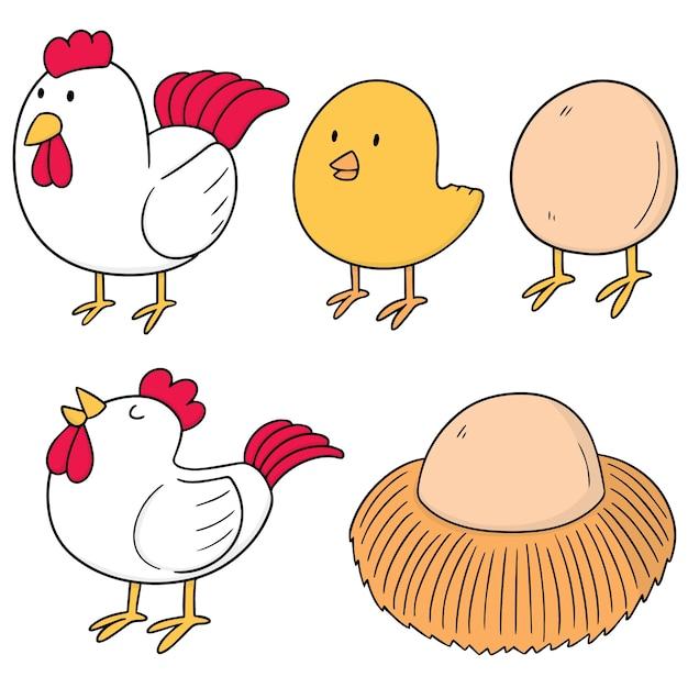 鶏と卵のセット Premiumベクター