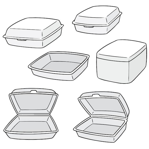 Векторный набор пенопластового контейнера Premium векторы