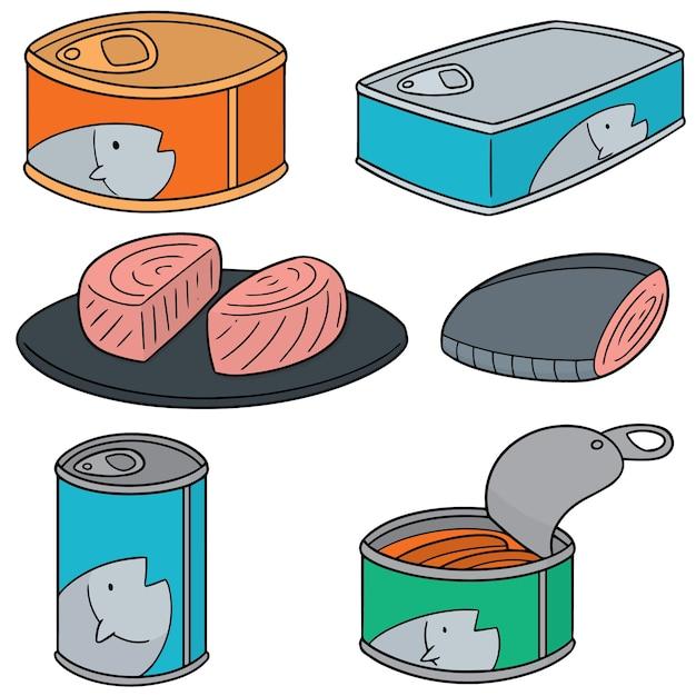 Векторный набор рыбных консервов Premium векторы