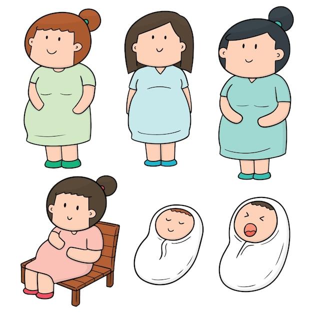 妊娠中の女性と赤ちゃんのベクトルセット Premiumベクター