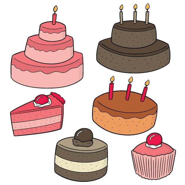 ケーキのベクトルセット Premiumベクター