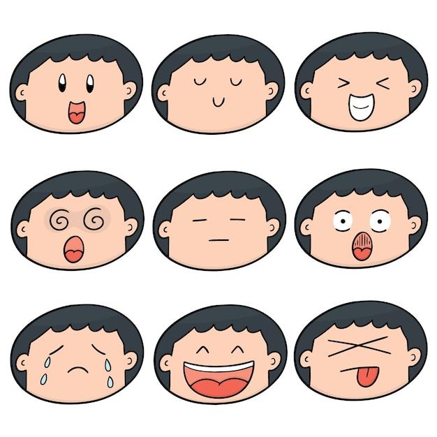 少年の顔のセット Premiumベクター