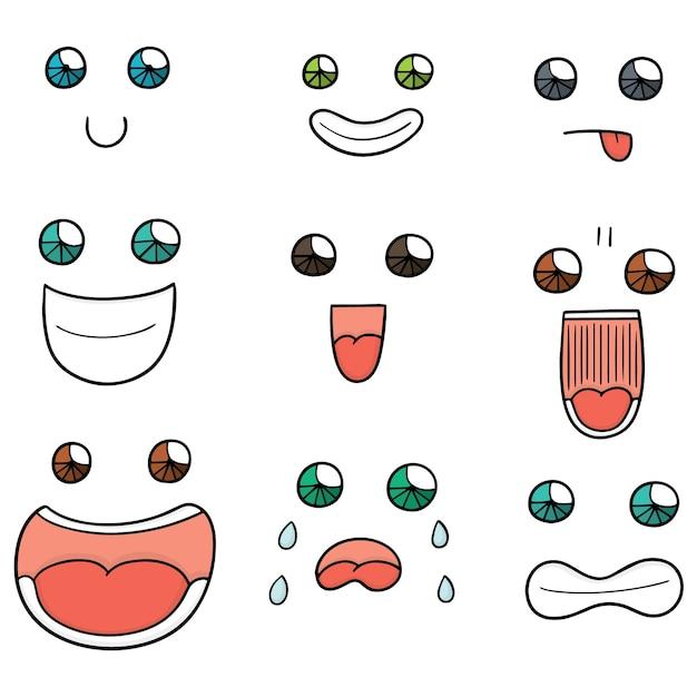 漫画の顔のベクトルセット Premiumベクター