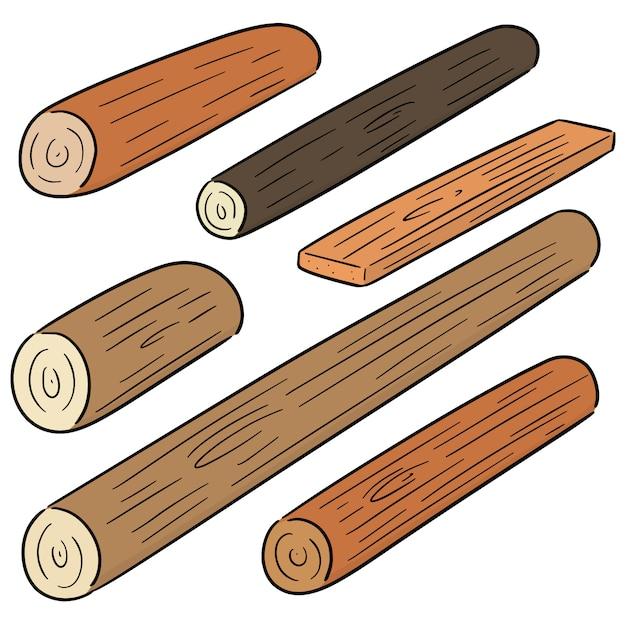 木製の木材のベクトルを設定 Premiumベクター