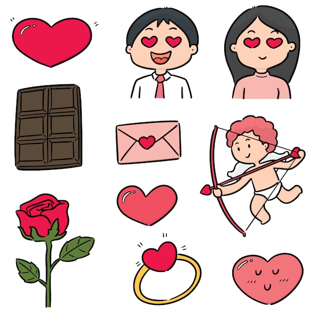 バレンタイン漫画のベクトルを設定 Premiumベクター