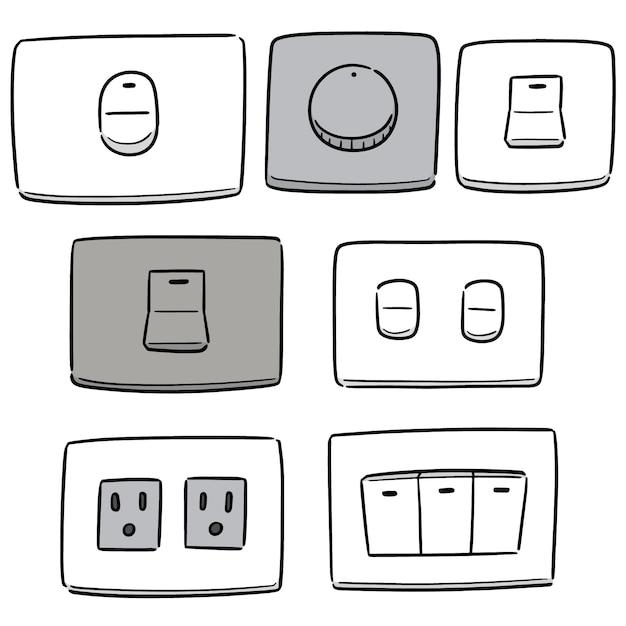 Векторный набор электрических выключателей и вилок Premium векторы