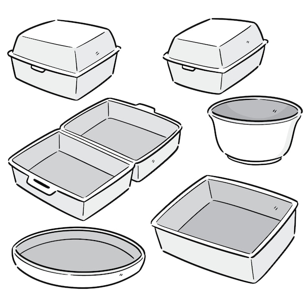Векторный набор пены контейнера Premium векторы
