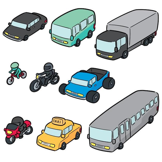 Векторный набор транспорта и транспортного средства Premium векторы