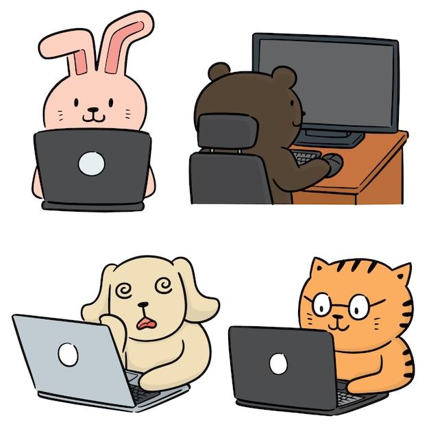 Векторный набор животных офисного работника Premium векторы