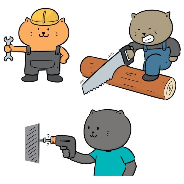 Векторный набор кошек использовать строительный инструмент Premium векторы