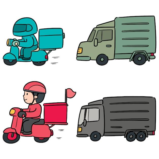 Векторный набор доставки человека и логистики Premium векторы