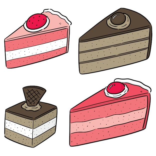 ケーキのベクトルを設定 Premiumベクター