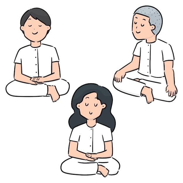 瞑想のベクトルを設定 Premiumベクター