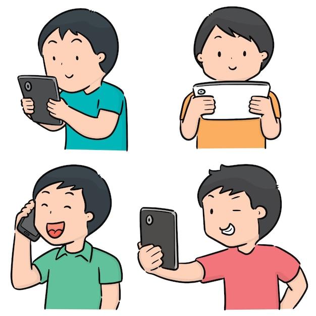 スマートフォンを使用している人々のベクトルを設定 Premiumベクター