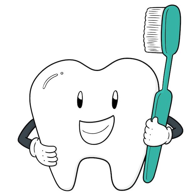 歯と歯ブラシのベクトル Premiumベクター
