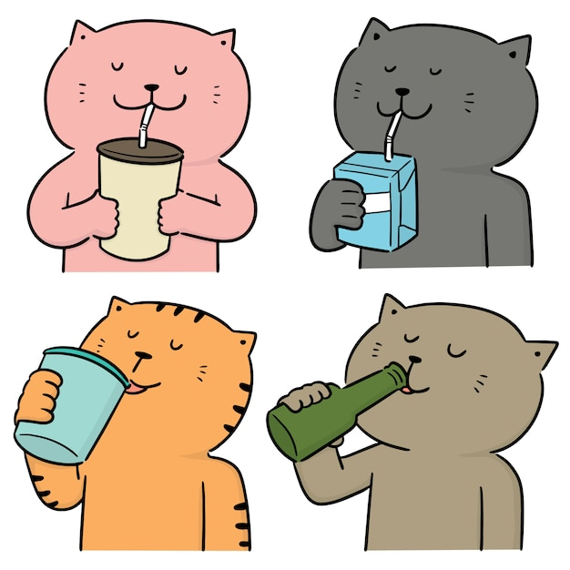 猫を飲むのベクトルを設定 Premiumベクター